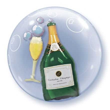 Champagne Bottle & Glass Double Bubble Balloon